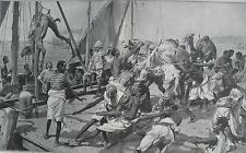1903 Large Antique Prints - Loading Camels On Deck, Somalia -Neville Chamberlain