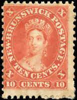 Mint Canada New Brunswick 1860 10c VG-F Scott #9 Queen Victoria Stamp Hinged