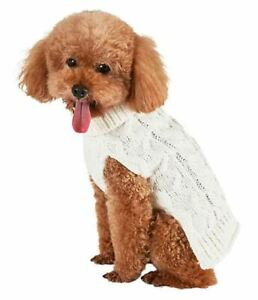 Bee & Willow Home Cable Knit Dog Sweater in White, Size Medium