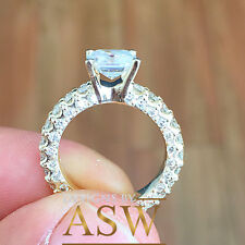 14K SOLID YELLOW GOLD ASSCHER CUT SIMULATED DIAMOND ENGAGEMENT BRIDAL RING 3.10