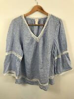 Chico's Women's Blue White Striped Bell Sleeve Linen Blouse Top Size 4 Crochet