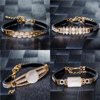 New Fashion Gold Plated Crystal Woman Bracelet Chain Bangle Cuff Jewelry