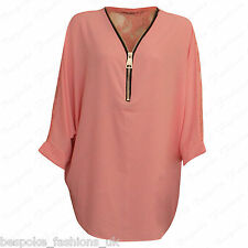 Ladies Women's Curved Hem Floral Lace Back Zip V Neck Baggy Batwing Top 14-28 Coral 26-28