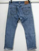 LEVI'S 501 CLASSIC W32 L30 BUTTON FLY HIGH WAISTED MEDIUM BLUE BOYFRIEND JEANS