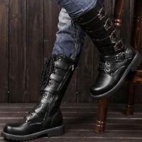 Men's Vintage Punk Multi Belt Buckle Lace Boots Motorcycle Metal Boots