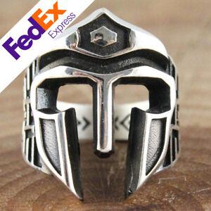 Spartan Helmet 925 Sterling Silver Heavy Luxury Gothic Retro Men's Ring All Size