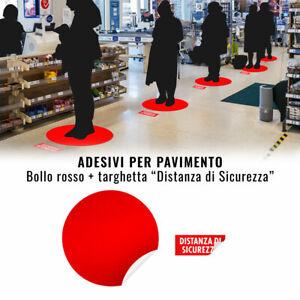 Bollo Adesivo Segnaletica Distanziamento Sociale per Pavimento, Rosso