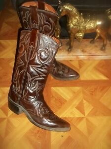Women/'s Leather Pointed Tall Cowboy Cowgirl Heel Tall Size 7 12 Vintage Brown Woven Western Flat Ankle Boots