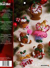 Bucilla Cupcake Angel ~ 6 pce. Felt Christmas Ornament Kit #86242, Gingerbread