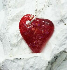 Handmade Glass Red Flaked Dichroic Heart Pendant, Gift for Valentine