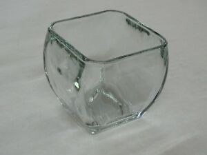 New Libbey Glass Clear Votive Curved Tapered Square  Candy Bowl Vase Decoration