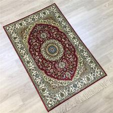 Yilong 2'x3' Medallion Hand Knotted Carpets Red Corridor Handmade Silk Rug 123A