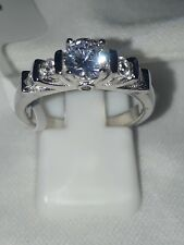 925 STERLING SILVER ENGAGEMENT SIMULATED DIAMOND RING  SZ N USA 7 EUR 54