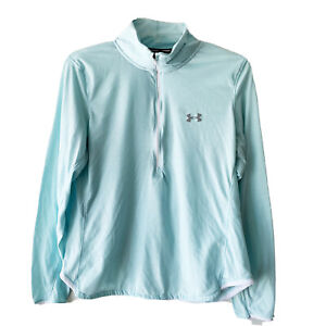 Womens Under Armour All Season Gear Semi-Fitted Teal 1/2 Zip Pullover Top Size L