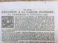 Gazette d'Utrecht 1758 Guerre de Sept Ans Allemagne USA Saint Cast Bretagne