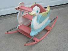 Vintage Child's Baby Toddler Dephos Bending Company Duck/Swan Rocking Spring Toy