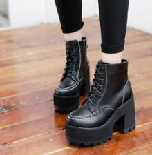 Womens Platform Lace Up Combat Vintage Punk Retro Chunky Block Heel Shoes UK