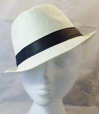 Unisex ADULT Trilby Fedora Hat LIGHT STRAW WITH BLACK BAND summer occasion