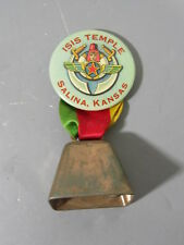 ISIS Temple Salina Kansas Celluloid Pinback with Ribbon & Bell/ Shriner Masonic