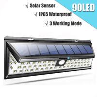 Waterproof 90 LED Solar Power PIR Motion Sensor Wall Light Outdoor Garden Lamp j
