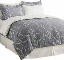Bedsure Bed in A Bag 8 Pieces, King Comforter Set, Grey/Camel - Tree Branch Prin