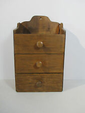 """Wooden Drawer Cabinet Spice Wall Table or Desk Primitive Small 3 Drawer 14"""" Tall"""
