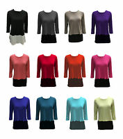 WOMENS PLAIN CONTRAST TOP CHIFFON SLIT 8-14 LADIES TOPS T-SHIRT 3/4 SLEEVES