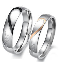"""Hot Sale Stainless Steel """"Real Love"""" Heart Couples Engagement Ring Wedding Band"""