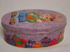 Tin Metal Easter Candy Container Bunny Rabbit Eggs