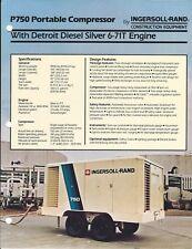 Equipment Brochure - Ingersoll-Rand P750 Compressor Detroit Diesel 1986 (E4751)