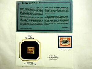1918 24c Inverted Jenny Air Mail- 22k Gold Stamp Replica 1st Day Issue 5,13,1991
