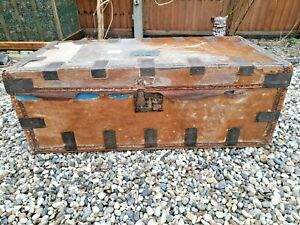 ANTIQUE VICTORIAN STEAMER TRUNK, WOOD, COVERED WITH GOAT HIDE AND METAL TRIM