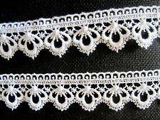 Spitze Spitzenborte Weiß 4 cm  Ätzspitze Gardine Tischdecke Kissen borte Glänzt