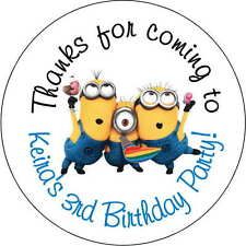 12 Minion Despicable me stickers Birthday Party 2.5 Inch Personalized