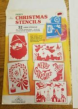 "True Vintage Frosty Christmas Stencils, 9 Paper Sheets for ""Spray Snow"" Fun!!"