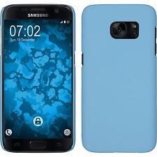 Coque Rigide Samsung Galaxy S7 - gommée bleu clair + films de protection