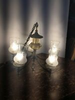 Vintage circa 1930's Brass And Silver Plated 5 Light Chandelier With Glass Shade