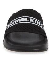 Women MK Michael Kors Gilmore Knit Fabric Slide Sandals Black