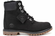 TIMBERLAND women's 6 inch Premium WATERPROOF BOOT Fleece-Lined Leather BLACK 7.5
