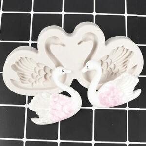 Silicone Couple Swan Mold Fondant Cake Decoration Mould Soap Mo LD