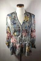 BKE Boutique Women's Gray Floral Semi Sheer 3/4 Sleeve Hi Lo Blouse Top Size S