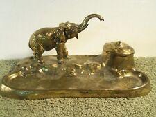 Antique Elephant Cast Metal Signed Brass Look Desk Inkwell Milk Glass Insert