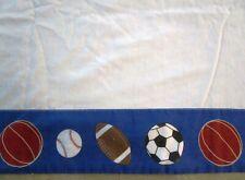 SPORTS BALLS MOTIF TWIN FLAT SHEET- SOLID WHITE W/ROYAL BLUE TOP EDGE
