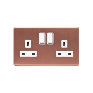 Lieber Brushed Copper 13A 2 Gang Switched Socket, Double Pole - White Insert ...