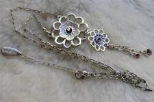 "KARMA Design Silvertone Amethyst Diamante Flower Pendant 20"" Chain Necklace"