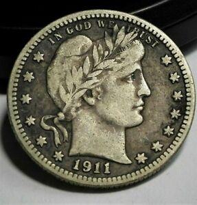 1911 USA Barber Silver Quarter in VF++ Condition  (132)
