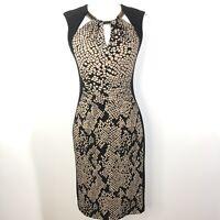 Joseph Ribkoff Size 6 Sheath Dress Sleeveless Brown Black Metallic Printed