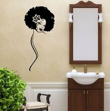 Vinyl Decal Sexy Girl Face Short Curly Afro Hair Beauty Salon Wall Sticker 1510