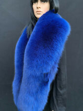 70' Inch. Fox Fur Stole Saga Furs Big Scarf Royal Blue Color