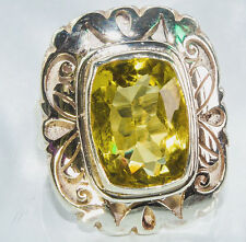 Sterling Silver Ethnic Asian Vintage Style Citrine Stone Ring Size R 1/2 Gift